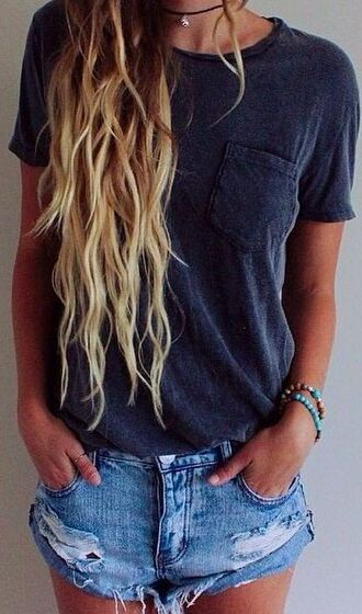shirt navy frocket pocket shortsleeve bracelets denim shorts necklace wavy hair scoop neck crewneck california girl beauty