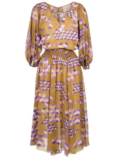 Sissa dress print dress women geometric print silk
