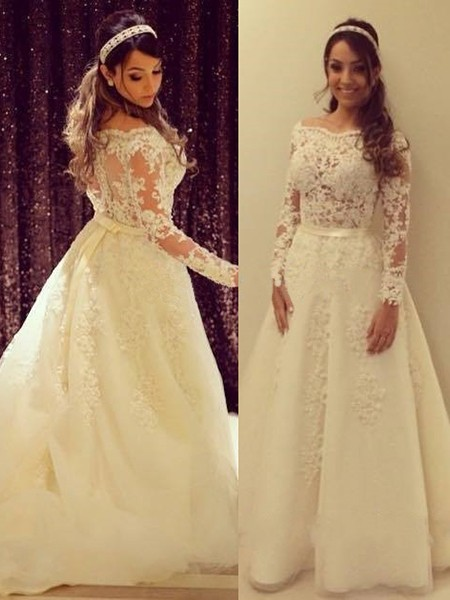 Off-the-shoulder Tulle Appliques Lace A-line Beautiful Long Sleeve Wedding Dress - dressesofgirl.com