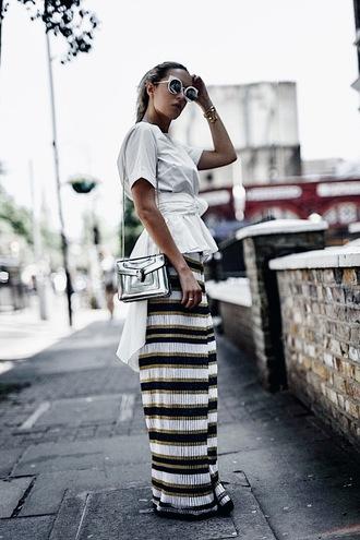 camila carril blogger top pants bag shoes sunglasses shouder bag white top summer outfits metallic bag