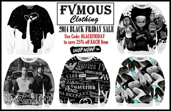 clothes sale great deal great deals dope creative unique giving back boondocks outer space big spill boysz n the hood fashion drugs fashion pills designers fvmous clothing fvmous all over printed sweatshirts