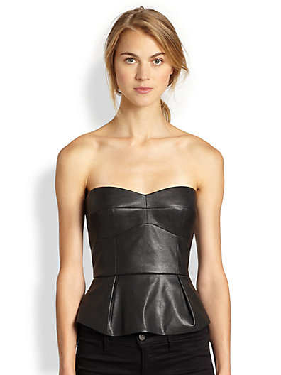 BCBGMAXAZRIA - Faux Leather Peplum Bustier Top - Saks.com