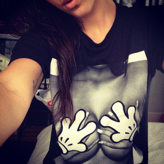 t-shirt hands dope swag mickey mouse shirt boobs grabbing hipster