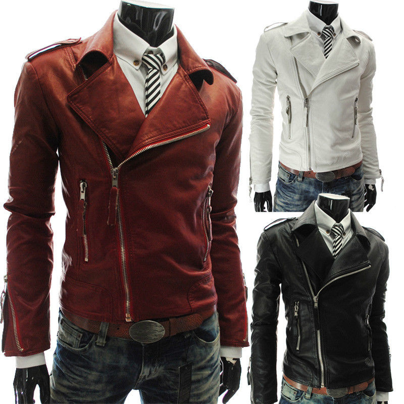 HOT !2014! NEW fashion Men's Slim Top Designed Sexy PU Leather Short Jacket Coat