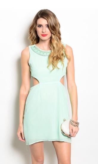 dress mint dress cut-out dress side cutout dress spring dress summer dress mint tunic dress