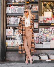 coat,checked coat,wool coat,sandal heels,high waisted,pants,white shirt,sunglasses