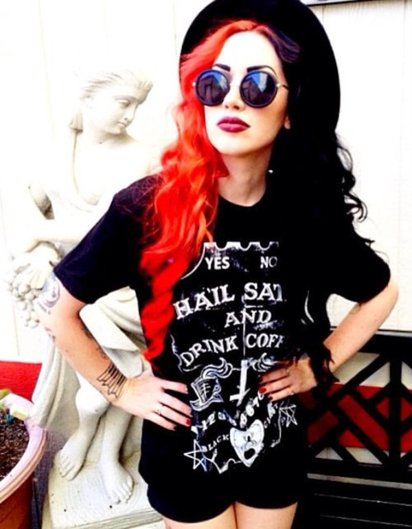 t-shirt satan black top ouija board hail satan