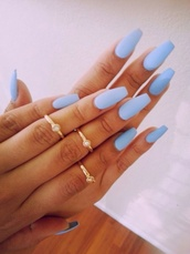nail polish,nails,acrylic nails,ring,jewels,baby blue,gold,knuckle ring,blue nails,blue,matte,matte nail polish,nail accessories,nail art,light blue,perfect,glamour,bluish nail color