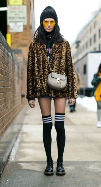 jacket coat animal print socks ny fashion week 2017 streetstyle purse sunglasses nyfw 2017 fashion week 2017 yellow sunglasses
