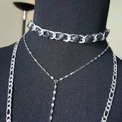 jewels,leather choker,choker necklace,leather and chain,choker jewelry,layering chains