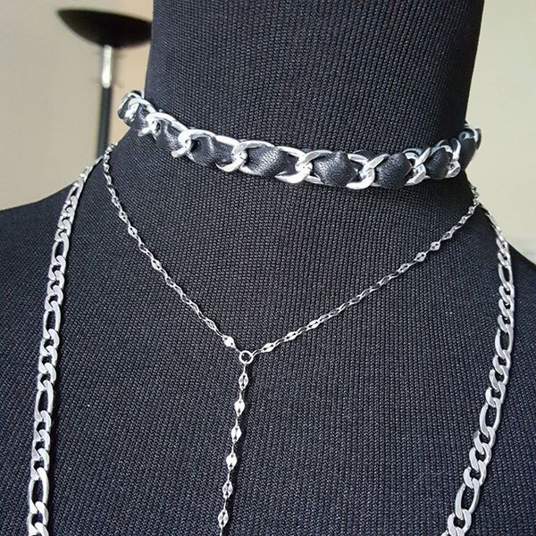 jewels leather choker choker necklace leather and chain choker jewelry layering chains