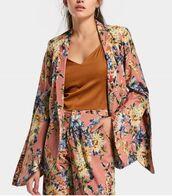 jacket,suit,girly,fashion toast,fashion,two-piece,matching set,floral,flowers,pants,print,zara