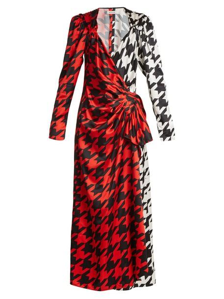 Attico dress wrap dress satin print black red