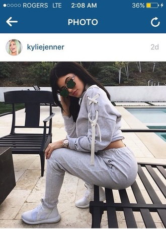 top grey grey sweater jumper kylie jenner kardashians white
