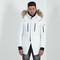 Fur hooded coat - white