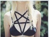 underwear,witch,bad,magic,bra,grunge,goth,fashion,clothes,black underwear,stars,satan,pretty,cute,swimwear,swimmers,black