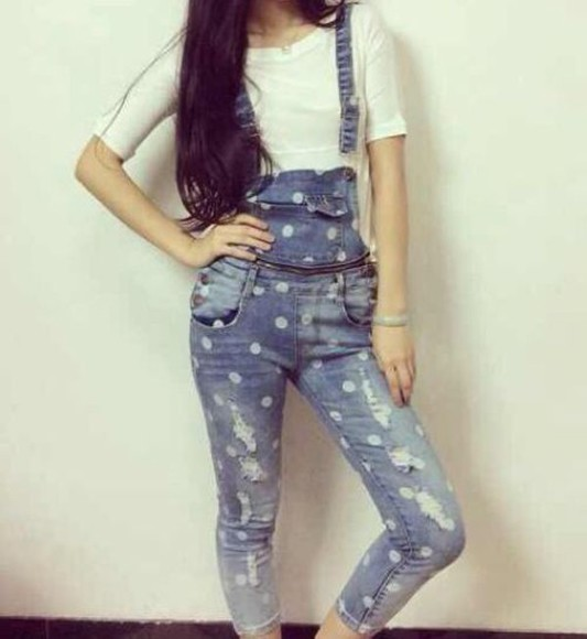 polka dots jumpsuit denim overalls blue cute torn jeans ripped jeans jeans retro hipster