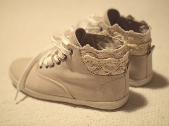 lace sneakers sneakers with lace sneakers vintage clothes shoes blogger girly lace
