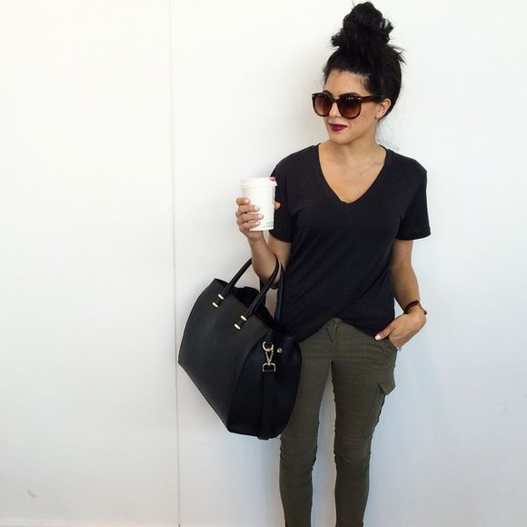 v-neck bag jeans olive coffee hairstyles bun sun sunglasses t-shirt top