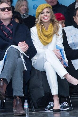 scarf annalynne mccord white white pants blazer suit