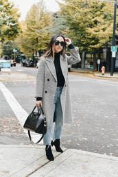 crystalin marie,blogger,coat,jeans,socks,shoes,bag,sunglasses,fall outfits,handbag,grey coat,ankle boots