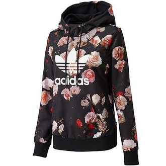 sweater adidaorgionals adidas floral roses black pink white