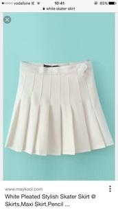 skirt,white skirt,pleated skirt