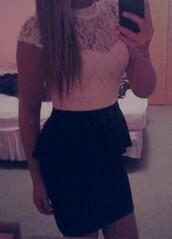 dress,peplum dress,peplum,white lace,black skirt,white top,fancy,classy