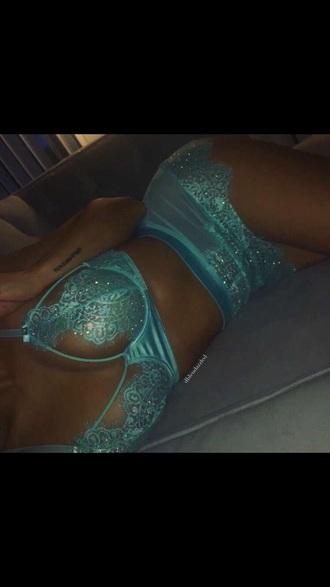 underwear lingerie set sparkly lingerie blue