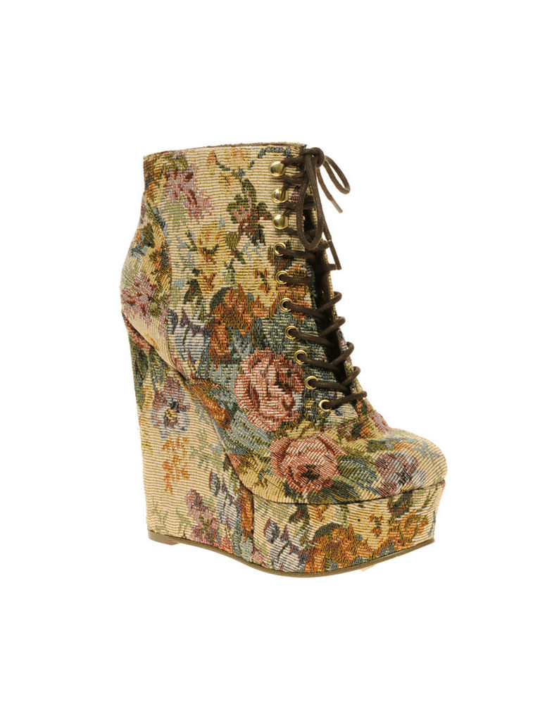 ASOS Super High Wedge in Tapestry Floral Jeffrey Campbell Style Sz UK5 US7 5 | eBay