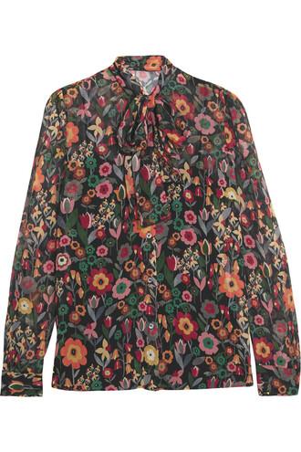 blouse bow silk orange top