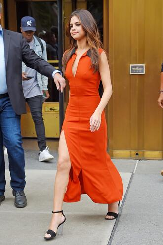 shoes sandals dress slit dress selena gomez