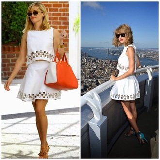 dress reese witherspoon taylor swift white dress