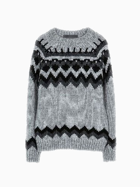 Gray Crew Knitted Jumper With Pucci Print | Choies