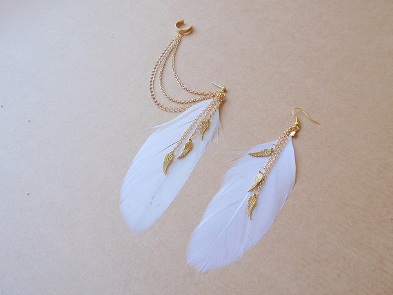White Feather and Triple Dangling Angel Wings par oflovelythings