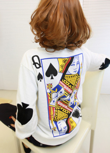 queen shirt poker sweater sweater sweatshirt blouse clothes top fashion
