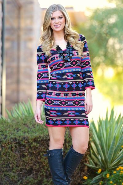Multi color aztec print bodycon sweater dress