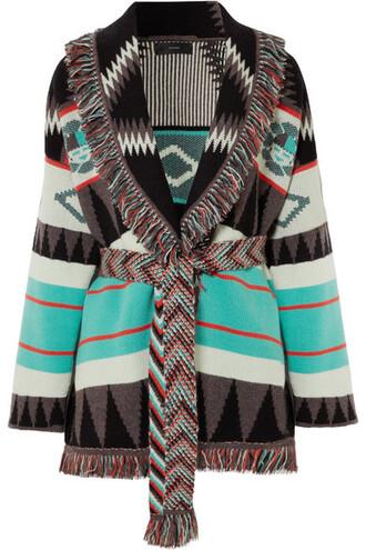 cardigan jacquard blue knit sweater
