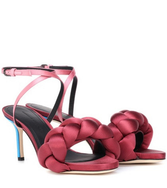 Marco De Vincenzo Braided satin sandals in red