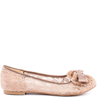 shoes cute girly lace nude pink bow flats ballet flats bow flats