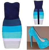 dress,bandu body wrap dress,different hues of blue