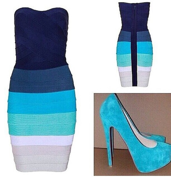 dress bandu body wrap dress different hues of blue