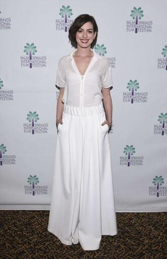 wide-leg pants anne hathaway white blouse