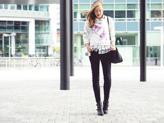 shirt jewels a cup of style blogger sweater bag checkered floral skinny jeans
