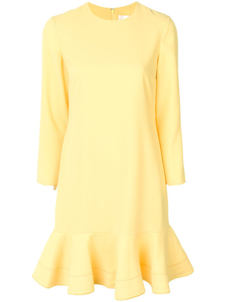 dress pencil dress women silk yellow orange