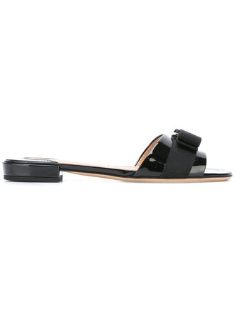 bow metal women sandals leather cotton black shoes
