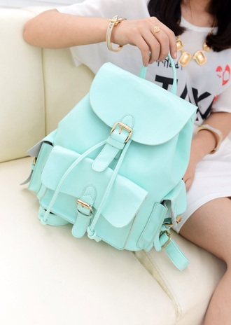 bag mint leather backpack backpack turquoise style fashion colorful color/pattern light blue bag blue bag hair accessory