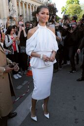 top,off the shoulder,off the shoulder top,white,white top,pumps,zendaya,fashion week 2017,Paris Fashion Week 2017,midi skirt