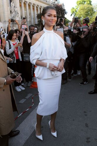 top off the shoulder off the shoulder top white white top pumps zendaya fashion week 2017 paris fashion week 2017 midi skirt