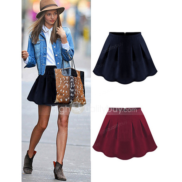 Vintage all match high waisted solid color skater skirt for women_26.18